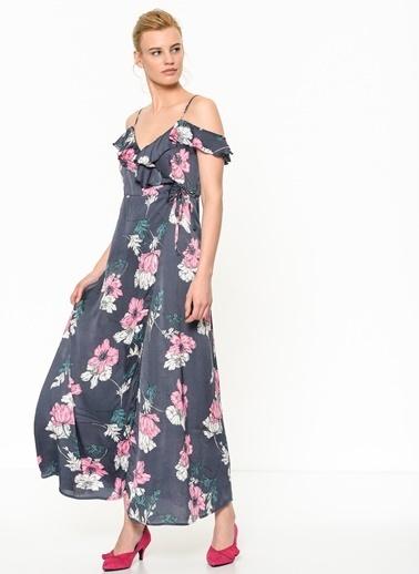 Kayık Yaka İp Askılı Çiçekli Uzun Elbise-Only
